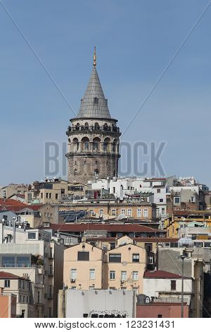 Galata Tower In Istanbul City, Turkey