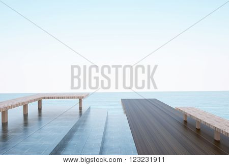 Seascape Summer view On The beach Outdoor view terrace Natural Seascape Concept Art