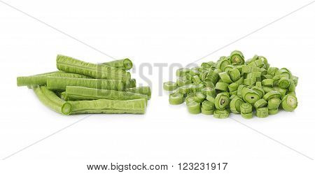 closeup Long bean isolated on white background