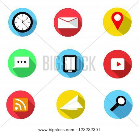 Flat 6 icons set with clockenelope letter or e-maillocationchat balloon smartphonevideorss feedpaper planesearch icon