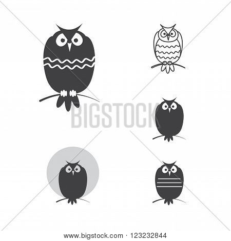 Abstract owls. Five variants of images of owls. Vector set.