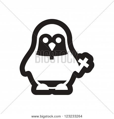 style black and white icon penguin priest
