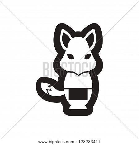 style black and white icon fox waiter
