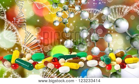 image of pills on dna chain background closeup