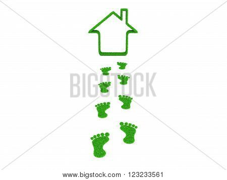 3d Home with Human Footprint  Isolated on White