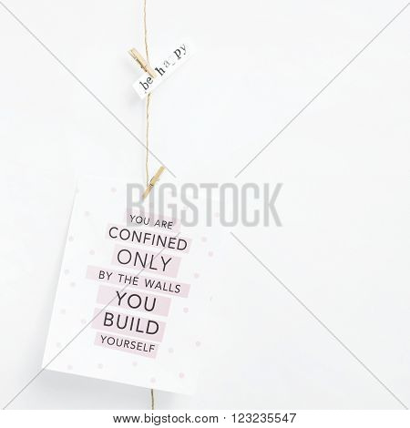 Simple garland with card. Hipster scandinavian home interior decoration.