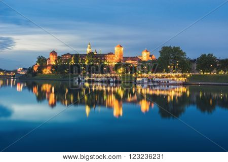 Poland, Krakow - MAY 5: Wawel castle evening, view from the waterfront on May 5, 2015 in Krakow, Poland