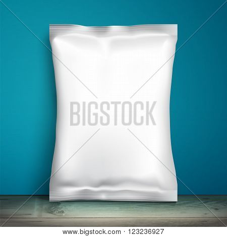 Blank white packaging. Sample package. Blank template for design. Net packaging is on shelf. Mockup Foil Food Snack pack, packaging or wrapper. Plastic Pack Template for design and branding. Blue wall