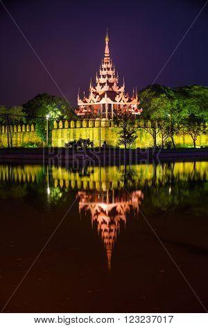 Mandalay royal palace at night Mandalay Myanmar