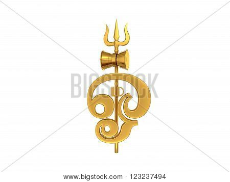 Tamil Om Symbol with Trident -3d Rendered Image