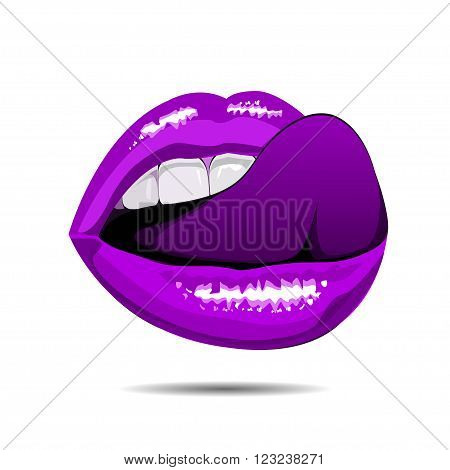 female violet disco lips on white backgroud. illustration.