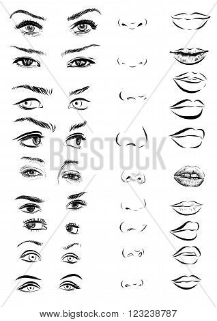 Set of woman eyes, lips, eyebrows and noses as black and white sketching design elements.