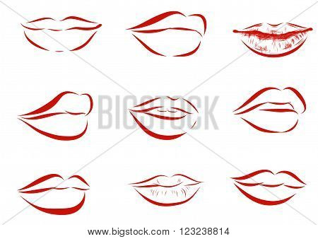 Set of isolated red women lips on light background. illustration.