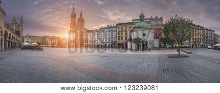 Poland, Krakow - MAY 6: Panorama Market Square at sunrise on May 6, 2015 in Krakow, Poland