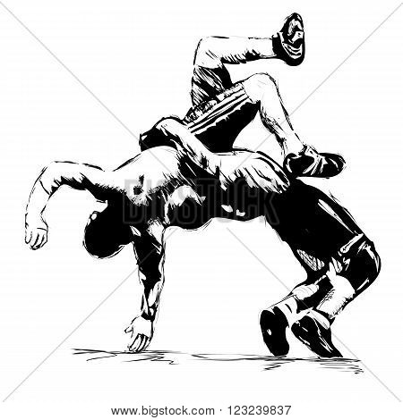 sport Illustration Wrestlers sketch in fight  wrestling