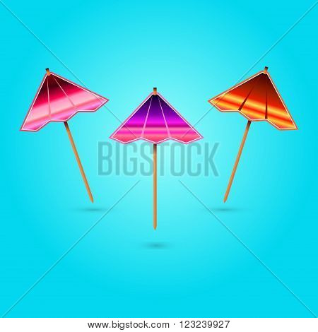 Vector image of the three multi-colored cocktail umbrellas on a blue background with shadows.