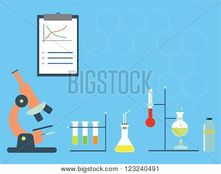 Chemistry lab with microscope test tubes and experimental staff