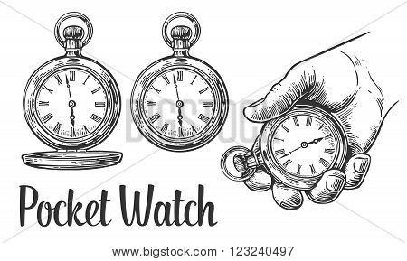 Antique pocket watch. Vector vintage engraving illustration.