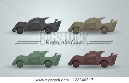 Vector set of old cars. Transport like broken and dirty in pastel color