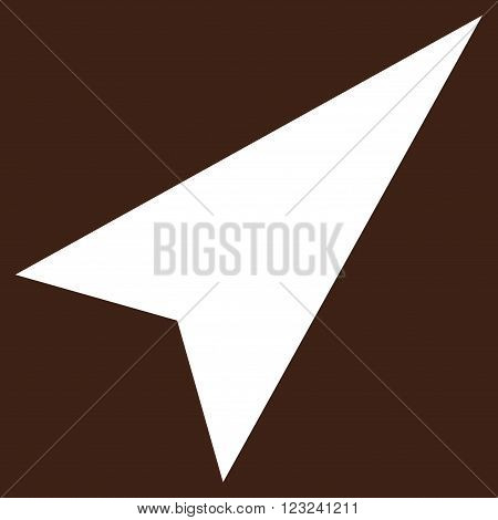 Arrowhead Right-Up vector icon. Image style is flat arrowhead right-up pictogram symbol drawn with white color on a brown background.