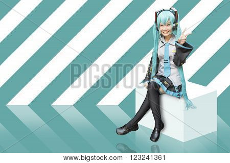 Japan anime cosplay with green abstract background ** Note: Soft Focus at 100%, best at smaller sizes