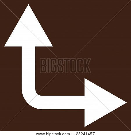 Bifurcation Arrow Right Up vector icon. Image style is flat bifurcation arrow right up pictogram symbol drawn with white color on a brown background.