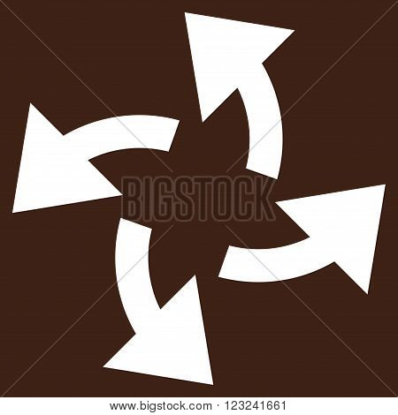 Centrifugal Arrows vector icon. Image style is flat centrifugal arrows pictogram symbol drawn with white color on a brown background.