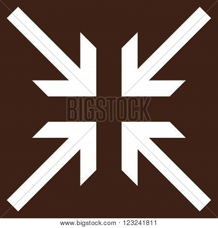 Collide Arrows vector icon. Image style is flat collide arrows pictogram symbol drawn with white color on a brown background.