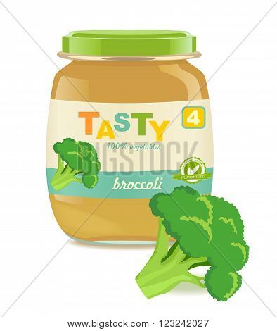 Detailed glass jar with broccoli baby puree. Great modern design of label. Vector illustration