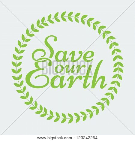 Earth Day Eco Green Vector Poster Design. Organic Circle Leafs. Ecology Concept on Paper Background. Halftone and solid flat color design. Save our earth