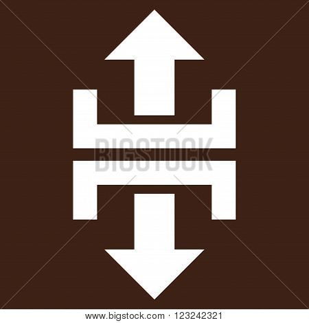 Divide Vertical Direction vector icon. Image style is flat divide vertical direction pictogram symbol drawn with white color on a brown background.