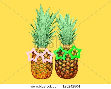 Two Pineapple With Sunglasses On Yellow Background, Colorful Ananas