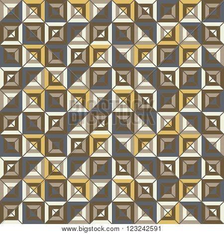 Abstract seamless pattern of colored square blocks divided by diagonal grid. Motley graphic print for stylish modern design. Brown, yellow, blue colors. Vector illustration for fabric, paper and other