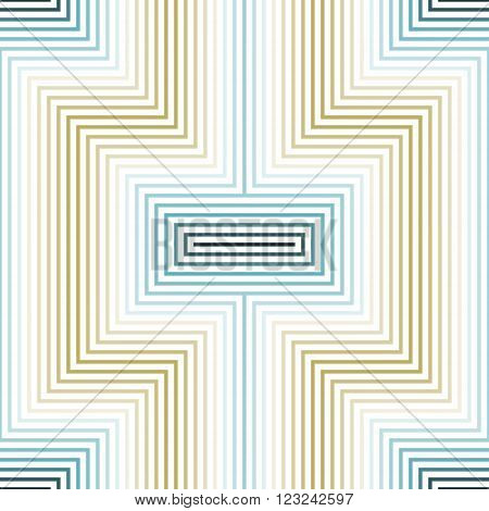 Abstract seamless geometric X-shaped pattern. Lines bent at right angles form X symbol. White, blue, golden colors. Vector illustration for stylish modern design