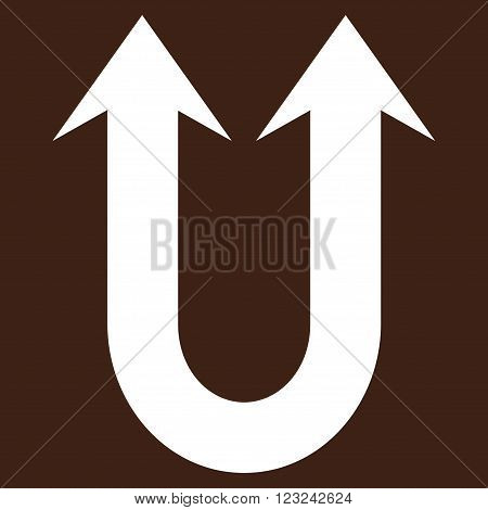 Double Forward Arrow vector icon. Image style is flat double forward arrow pictogram symbol drawn with white color on a brown background.