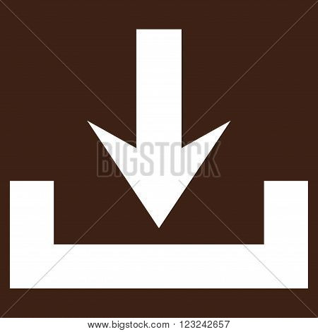 Downloads vector icon. Image style is flat downloads pictogram symbol drawn with white color on a brown background.