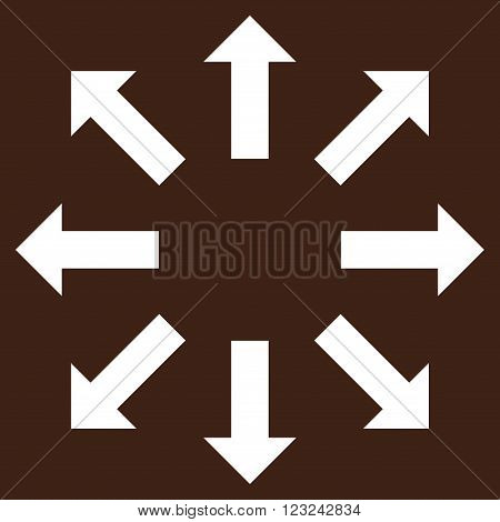Explode Arrows vector icon. Image style is flat explode arrows pictogram symbol drawn with white color on a brown background.