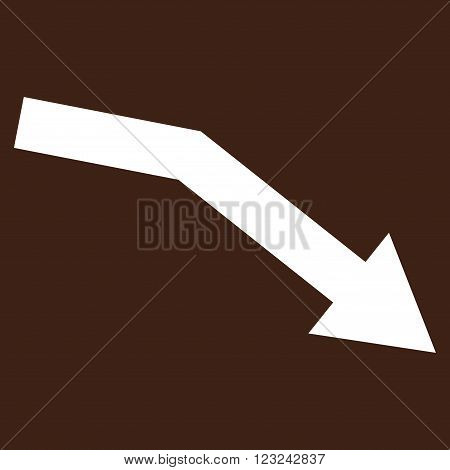 Fail Trend vector icon. Image style is flat fail trend pictogram symbol drawn with white color on a brown background.