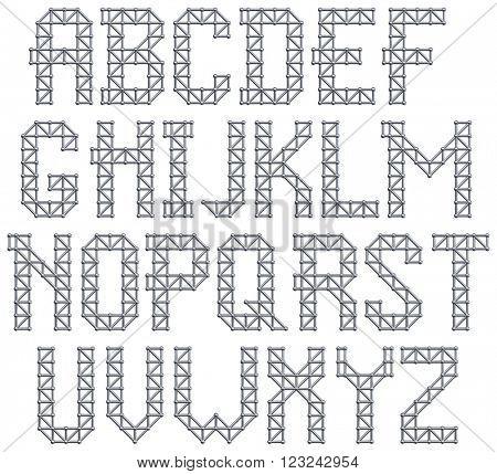 Metal structure alphabet letters. 3D render.