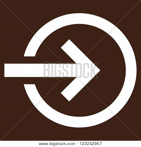Import vector icon. Image style is flat import pictogram symbol drawn with white color on a brown background.