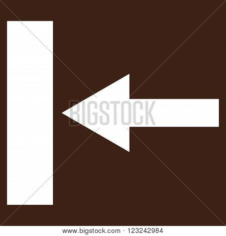 Move Left vector icon. Image style is flat move left pictogram symbol drawn with white color on a brown background.