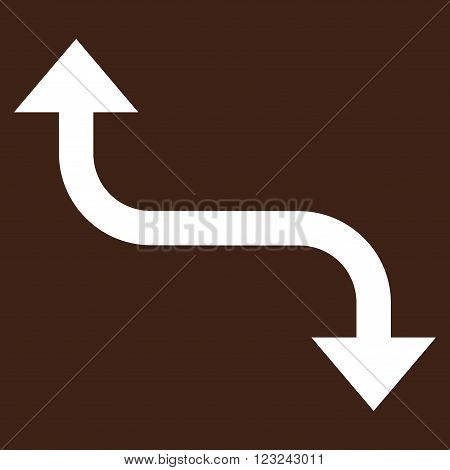Opposite Bend Arrow vector icon. Image style is flat opposite bend arrow pictogram symbol drawn with white color on a brown background.
