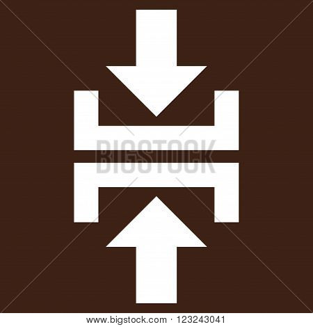 Press Vertical Direction vector icon. Image style is flat press vertical direction pictogram symbol drawn with white color on a brown background.