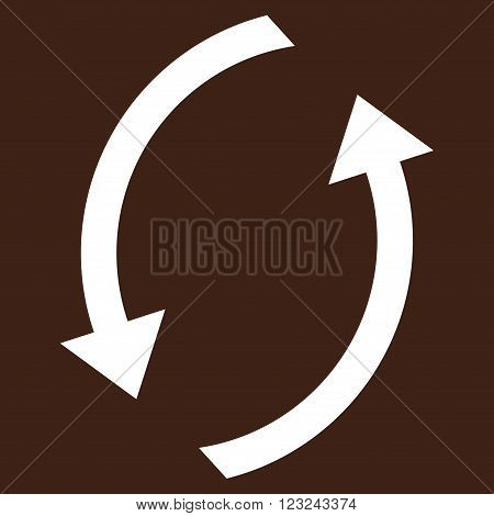 Refresh vector icon. Image style is flat refresh pictogram symbol drawn with white color on a brown background.