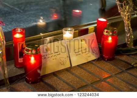 Madrid, Spain - March 22, 2016 - Candles And Envelopes With Peace Messages About Brussels Terrorist
