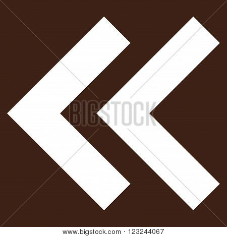 Shift Left vector icon. Image style is flat shift left pictogram symbol drawn with white color on a brown background.
