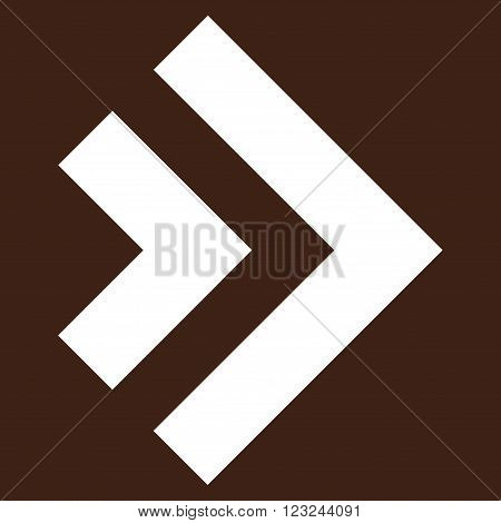 Shift Right vector icon. Image style is flat shift right pictogram symbol drawn with white color on a brown background.