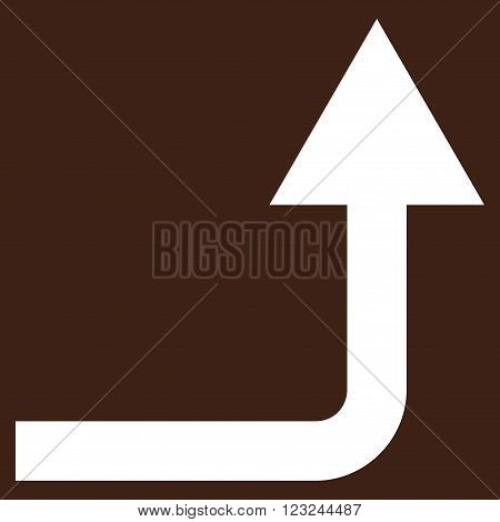 Turn Forward vector icon. Image style is flat turn forward pictogram symbol drawn with white color on a brown background.