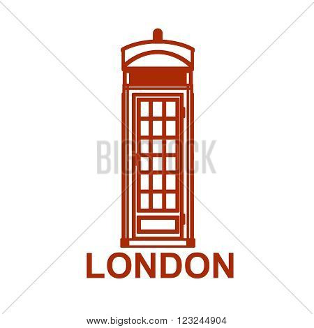 London phone booth icon isolated on white