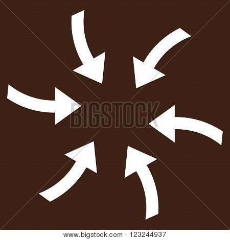 Twirl Arrows vector icon. Image style is flat twirl arrows pictogram symbol drawn with white color on a brown background.